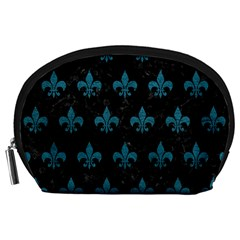 Royal1 Black Marble & Teal Leather Accessory Pouches (large)
