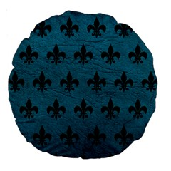 Royal1 Black Marble & Teal Leather (r) Large 18  Premium Round Cushions by trendistuff