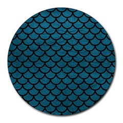 Scales1 Black Marble & Teal Leather Round Mousepads by trendistuff