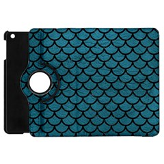 Scales1 Black Marble & Teal Leather Apple Ipad Mini Flip 360 Case by trendistuff