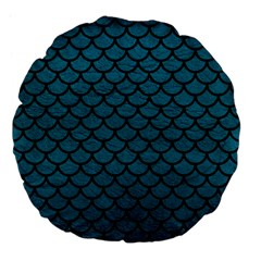 Scales1 Black Marble & Teal Leather Large 18  Premium Flano Round Cushions by trendistuff