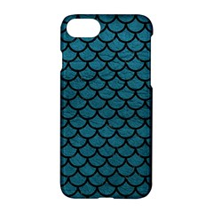 Scales1 Black Marble & Teal Leather Apple Iphone 8 Hardshell Case by trendistuff