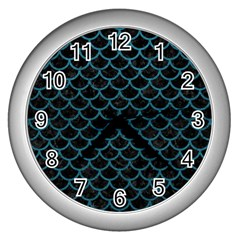 Scales1 Black Marble & Teal Leather (r) Wall Clocks (silver)  by trendistuff