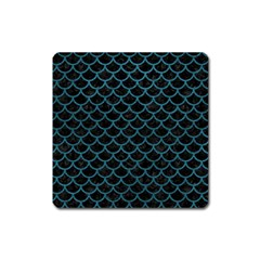 Scales1 Black Marble & Teal Leather (r) Square Magnet by trendistuff