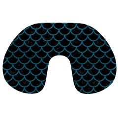 Scales1 Black Marble & Teal Leather (r) Travel Neck Pillows