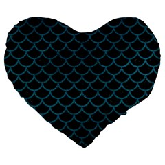 Scales1 Black Marble & Teal Leather (r) Large 19  Premium Flano Heart Shape Cushions by trendistuff