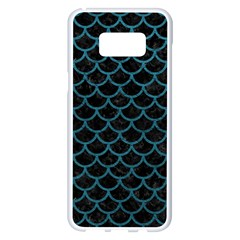 Scales1 Black Marble & Teal Leather (r) Samsung Galaxy S8 Plus White Seamless Case by trendistuff