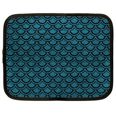 Scales2 Black Marble & Teal Leather Netbook Case (large) by trendistuff