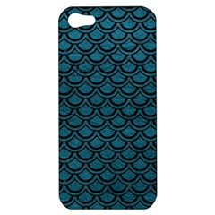 Scales2 Black Marble & Teal Leather Apple Iphone 5 Hardshell Case by trendistuff