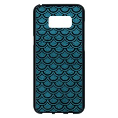 Scales2 Black Marble & Teal Leather Samsung Galaxy S8 Plus Black Seamless Case by trendistuff