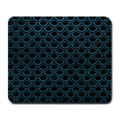 Scales2 Black Marble & Teal Leather (r) Large Mousepads by trendistuff