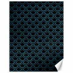 Scales2 Black Marble & Teal Leather (r) Canvas 12  X 16   by trendistuff