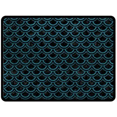 Scales2 Black Marble & Teal Leather (r) Fleece Blanket (large)  by trendistuff