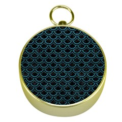 Scales2 Black Marble & Teal Leather (r) Gold Compasses by trendistuff
