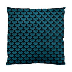 Scales3 Black Marble & Teal Leather Standard Cushion Case (one Side) by trendistuff