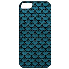 Scales3 Black Marble & Teal Leather Apple Iphone 5 Classic Hardshell Case by trendistuff