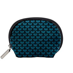 Scales3 Black Marble & Teal Leather Accessory Pouches (small)  by trendistuff
