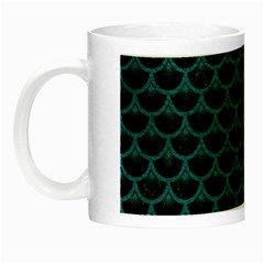 Scales3 Black Marble & Teal Leather (r) Night Luminous Mugs by trendistuff