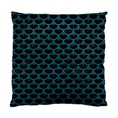 Scales3 Black Marble & Teal Leather (r) Standard Cushion Case (two Sides) by trendistuff