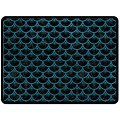 Scales3 Black Marble & Teal Leather (r) Fleece Blanket (large)  by trendistuff