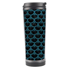Scales3 Black Marble & Teal Leather (r) Travel Tumbler by trendistuff