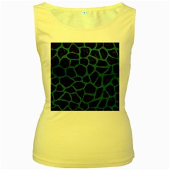 Skin1 Black Marble & Teal Leather Women s Yellow Tank Top