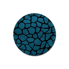 Skin1 Black Marble & Teal Leather (r) Rubber Coaster (round)  by trendistuff