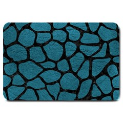 Skin1 Black Marble & Teal Leather (r) Large Doormat  by trendistuff