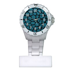 Skin1 Black Marble & Teal Leather (r) Plastic Nurses Watch by trendistuff