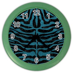 Skin2 Black Marble & Teal Leather (r) Color Wall Clocks by trendistuff