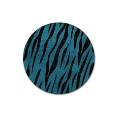 Skin3 Black Marble & Teal Leather Magnet 3  (round)