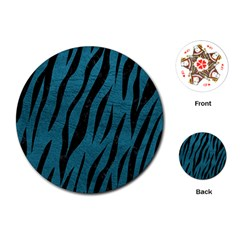 Skin3 Black Marble & Teal Leather Playing Cards (round)  by trendistuff