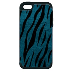 Skin3 Black Marble & Teal Leather Apple Iphone 5 Hardshell Case (pc+silicone) by trendistuff