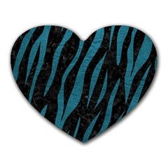 Skin3 Black Marble & Teal Leather (r) Heart Mousepads by trendistuff