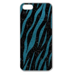Skin3 Black Marble & Teal Leather (r) Apple Seamless Iphone 5 Case (clear) by trendistuff