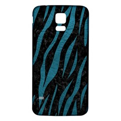 Skin3 Black Marble & Teal Leather (r) Samsung Galaxy S5 Back Case (white) by trendistuff