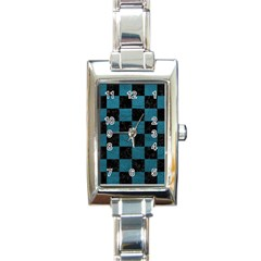 SQUARE1 BLACK MARBLE & TEAL LEATHER Rectangle Italian Charm Watch