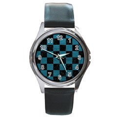 SQUARE1 BLACK MARBLE & TEAL LEATHER Round Metal Watch