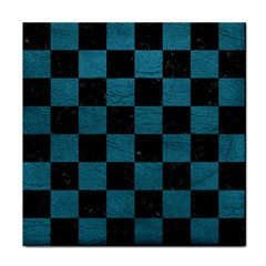 SQUARE1 BLACK MARBLE & TEAL LEATHER Tile Coasters