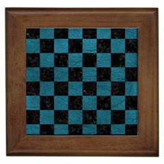 SQUARE1 BLACK MARBLE & TEAL LEATHER Framed Tiles