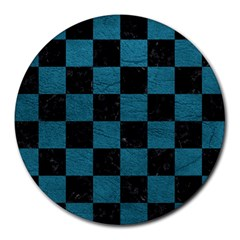 SQUARE1 BLACK MARBLE & TEAL LEATHER Round Mousepads