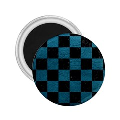 SQUARE1 BLACK MARBLE & TEAL LEATHER 2.25  Magnets