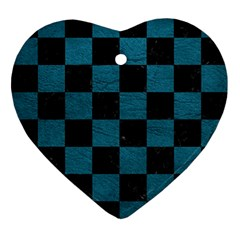 SQUARE1 BLACK MARBLE & TEAL LEATHER Ornament (Heart)