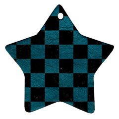 SQUARE1 BLACK MARBLE & TEAL LEATHER Ornament (Star)
