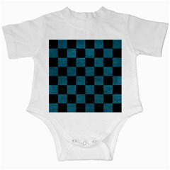 SQUARE1 BLACK MARBLE & TEAL LEATHER Infant Creepers