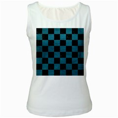 SQUARE1 BLACK MARBLE & TEAL LEATHER Women s White Tank Top