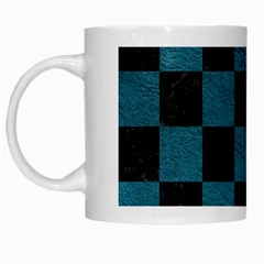 SQUARE1 BLACK MARBLE & TEAL LEATHER White Mugs