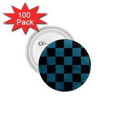 SQUARE1 BLACK MARBLE & TEAL LEATHER 1.75  Buttons (100 pack)