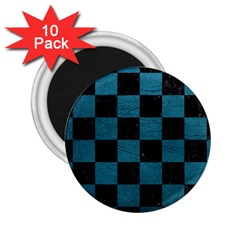 SQUARE1 BLACK MARBLE & TEAL LEATHER 2.25  Magnets (10 pack)