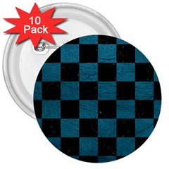 SQUARE1 BLACK MARBLE & TEAL LEATHER 3  Buttons (10 pack)